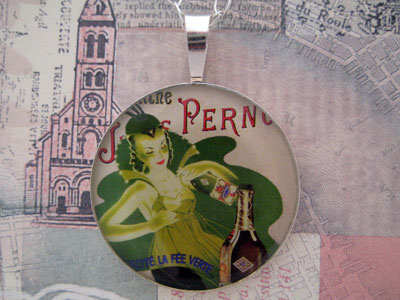 Absinthe Pernod Fairy Sterling Pendant