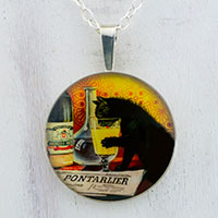 Absinthe Bourgeois Black Cat Sterling Pendant