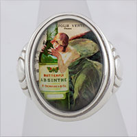 Absinthe Green Fairy Cameo Style Ring