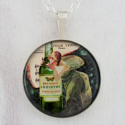 Absinthe Green Fairy Sterling Pendant