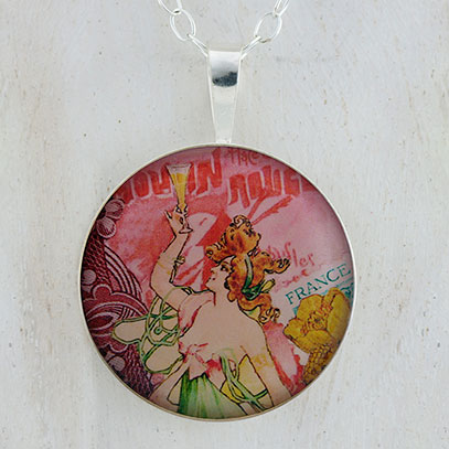Absinthe Moulin Fairy Sterling Pendant