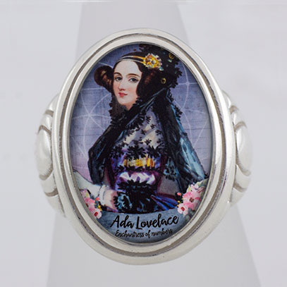 Ada Lovelace Enchantress of Numbers Cameo Style Ring
