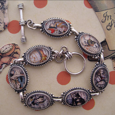 Alice in Wonderland Characters Sterling Silver Bracelet