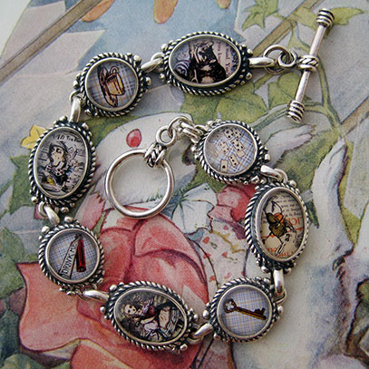 Alice in Wonderland Collage Bracelet