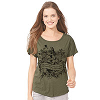 Alice Wonderland Flamingo Tri-Blend Wide Neck Dolman Tee Shirt
