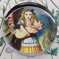 Alice and The Pig Nursery Glass Round Paperweight