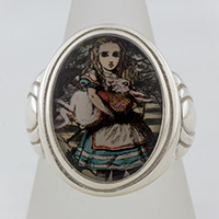 Alice Holding The White Rabbit Cameo Style Ring