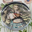 Alice Holding The White Rabbit Glass Round Paperweight