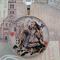 Alice and The Flying Cards Sterling Pendant