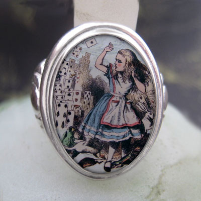 Alice and The Flying Cards Cameo Style Ring