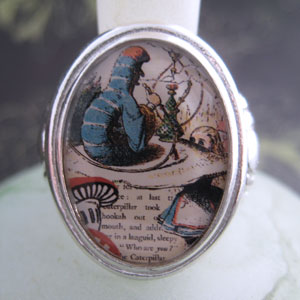 Alice and The Caterpillar Cameo Style Ring