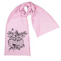Alice Drink Me Flamingo Wonderland Screen printed Cotton Scarf