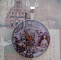 Alice at The Mad Tea Party Sterling Pendant