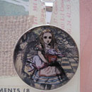 Alice Holding The White Rabbit Sterling Pendant