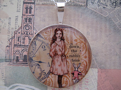 Alice Down the Rabbit Hole Sterling Pendant