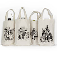 White Rabbit Alice Wonderland Organic Cotton Liquor and Wine Bottle Tote Bag