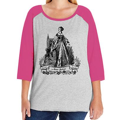 Anne Boleyn Curvy Plus Size Raglan Baseball T-shirt