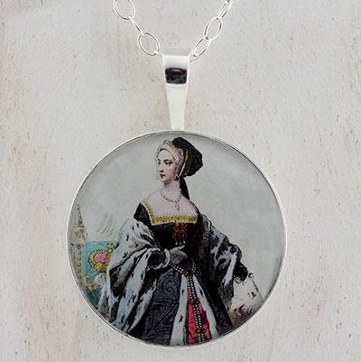 Anne Boleyn Engraving Sterling Pendant