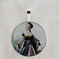 Anne Boleyn Engraving Sterling Pendant