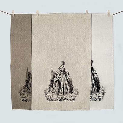 Anne Boleyn 100% linen screen printed tea towel