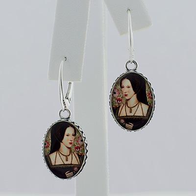 Anne Boleyn Oval Drop Earrings