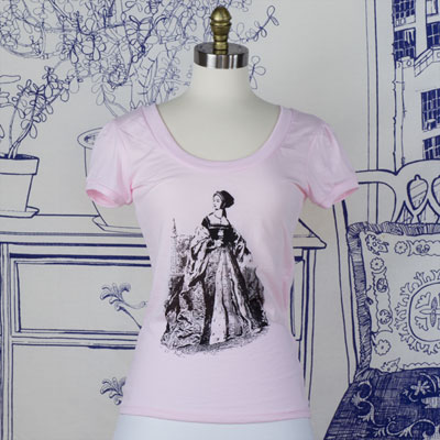 Anne Boleyn Vintage Scoop Neck T-Shirt w/ Puff Sleeves