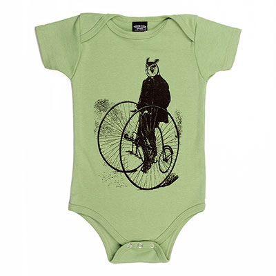 Gentleman Owl on a Bicycle organic one piece