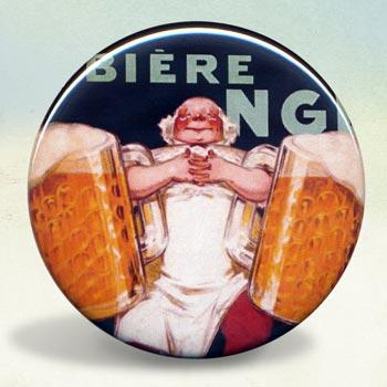 Biere Gangloff Beer and Pretzel Illustration Poster