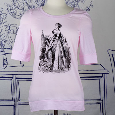 Anne Boleyn Elbow Length Pink T-Shirt