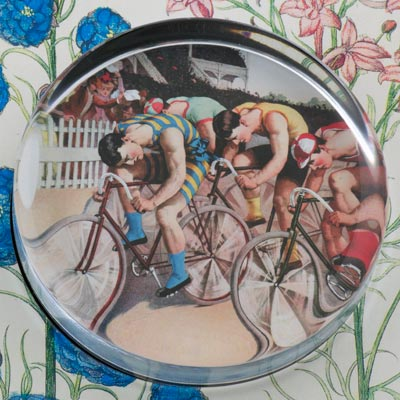 Bicycle Race Glass Round Paperweight