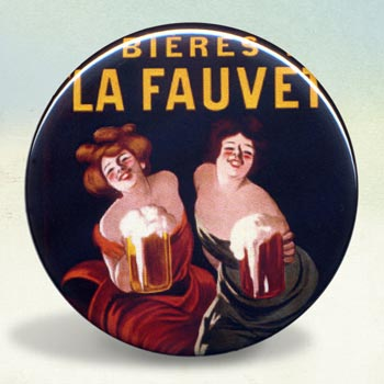 Bieres de la Fauvette Beer and Pretzel Illustration Poster