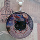 Black Kitty Cat Macabre Sterling Pendant