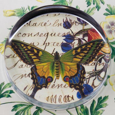 Butterfly with Flowers Glass Round Paperweight
