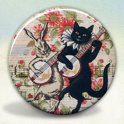 Black Cat and Rabbit Banjo Players