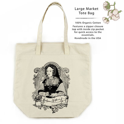 Catherine of Aragon Organic Cotton Large Market Tote Bag