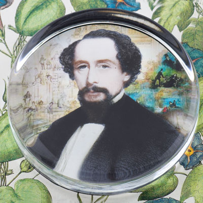 Charles Dickens Glass Round Paperweight