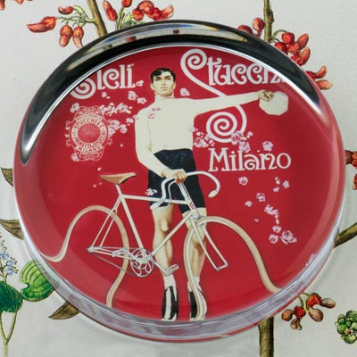 Cicli Stucchi Bicycle Glass Round Paperweight