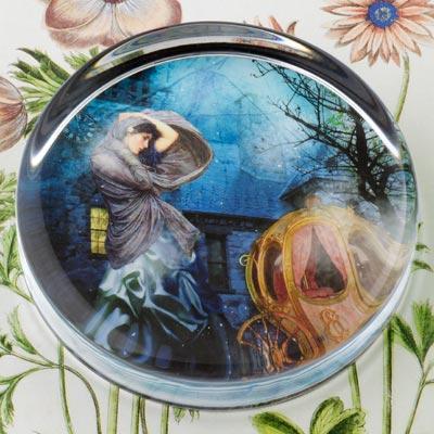 Cinderella Glass Round Paperweight