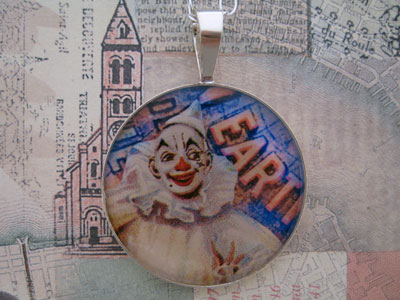 Clown Greatest Show On Earth Sterling Pendant