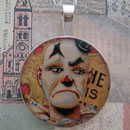 Sad Clown Sterling Pendant