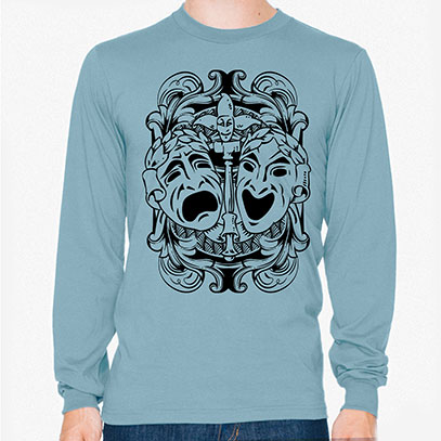 Comedy Tragedy Theatre Masks Men's or Unisex Organic Long Sleeve T-shirt