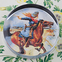 Cowgirl on Galloping Horse Paperweight