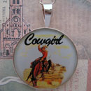 Cowgirl Riding Bronco Sterling Pendant