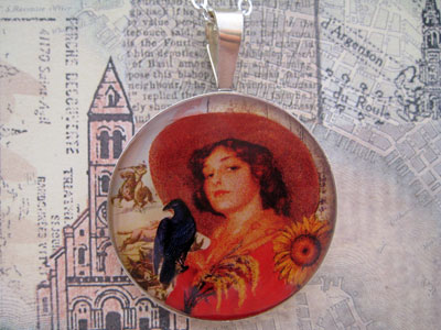 Cowgirl and Crow Sterling Pendant