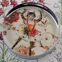 Dancing Kitty Cat Glass Round Paperweight
