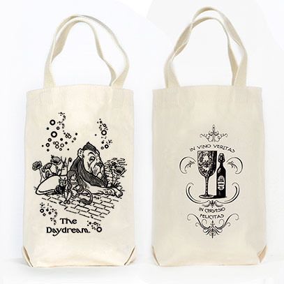 The Daydream Wizard of Oz Organic Cotton Liquor and Wine Bottle Tote Bag