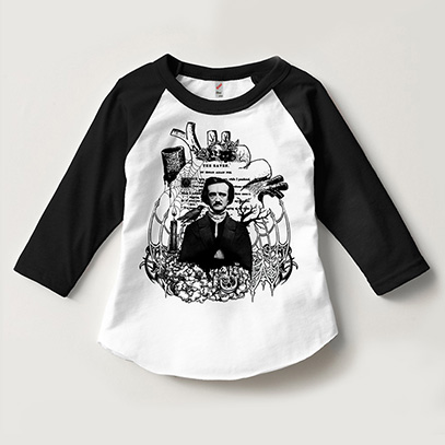 Edgar Allan Poe Kids 3/4 Sleeve Raglan Size 2-12