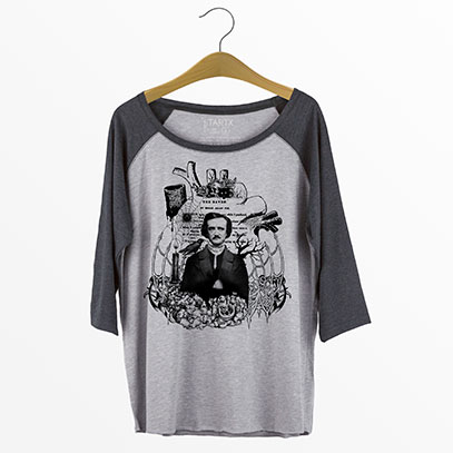 Edgar Allan Poe Curvy Plus Size Raglan Baseball T-shirt