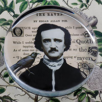 Edgar A. Poe and The Raven Glass Round Paperweight