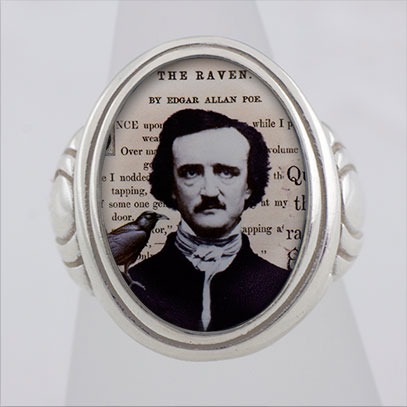 Edgar A. Poe and The Raven Cameo Style Ring